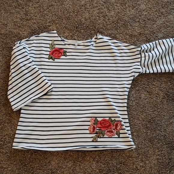 8529e02aee68 Fever Tops | 1x Long Sleeve Black And White Striped Shirt | Poshmark
